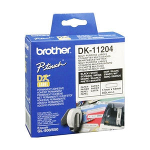Multipurpose Printer Labels Brother DK11204 17 x 54 mm White-Universal Store London™