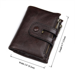 Brown Leather Wallet with Coin SD Memory SIM Card Storage
