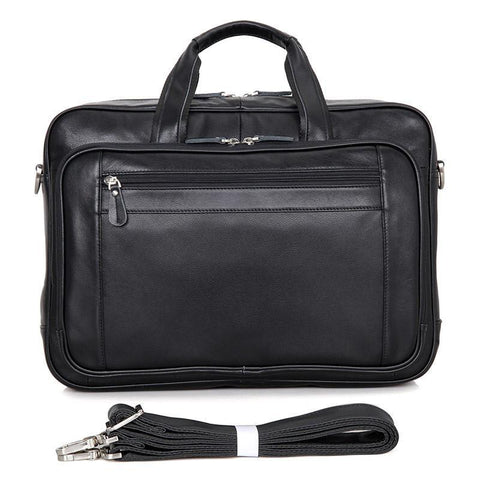 "Image of Newbury Double-Zip Leather Business Briefcase 16""-Universal Store London™"