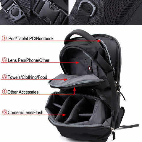 Image of Nylon Waterproof Shockproof Camera Laptop Bag Lens Case Backpack For Canon Nikon SLR DSLR Camera-Universal Store London™