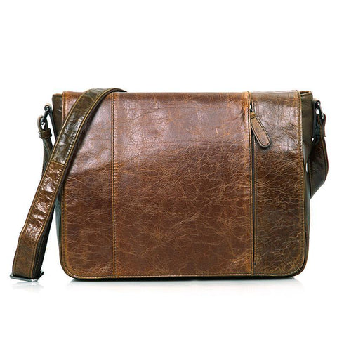 Image of Old London Leather Crossbody Messenger Bag-Universal Store London™