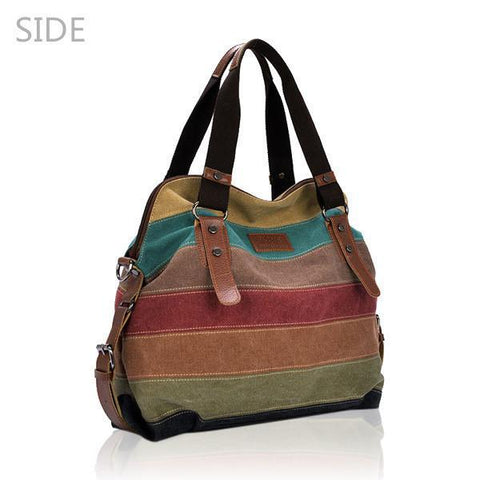 Image of 'Olivia' Vintage Canvas Shoulder Bag Handbag-Universal Store London™