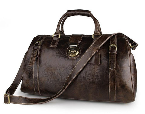 Image of 'Olympus' Leather Duffle Bag-Universal Store London™