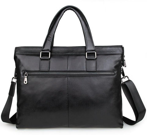 Image of 'Opus' Leather Laptop Briefcase - Black-Universal Store London™