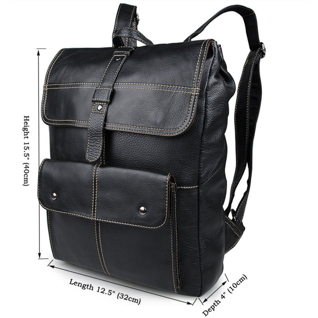 'Oxford' Saddle Leather Backpack - Black-Universal Store London™
