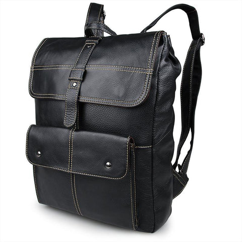 Image of 'Oxford' Saddle Leather Backpack - Black-Universal Store London™