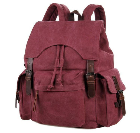 Image of 'Pittsburgh' Classic Canvas and Genuine Leather Backpack-Universal Store London™
