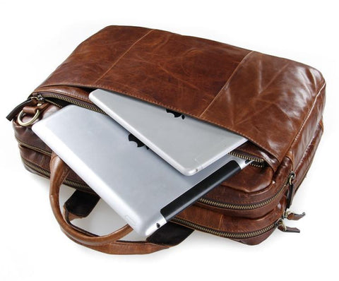 Image of 'Portobello' Saddle Leather Briefcase & Messenger Bag - Brown-Universal Store London™