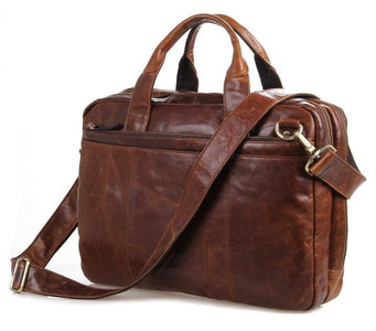 'Portobello' Saddle Leather Briefcase & Messenger Bag - Brown-Universal Store London™