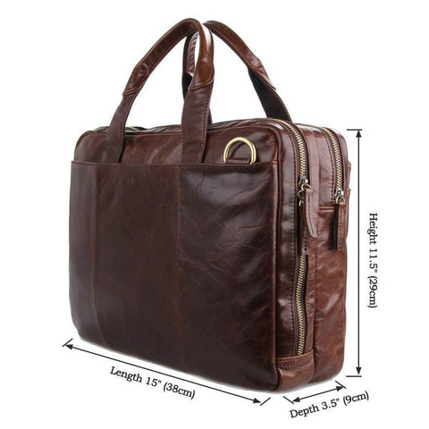 Image of 'Portobello' Saddle Leather Briefcase & Messenger Bag - Dark Brown-Universal Store London™