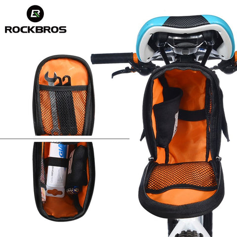 Image of ROCKBROS Waterproof Bicycle Saddle Bag With Water Bottle Pocket-Universal Store London™