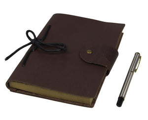 Refillable Antique Brown Smooth Italian Leather Journal