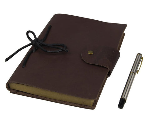 Image of Refillable Antique Brown Smooth Italian Leather Journal-Universal Store London™