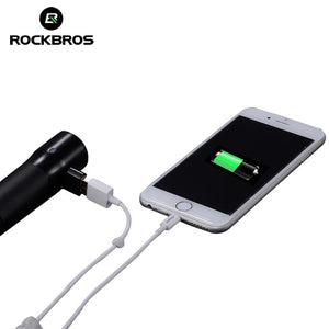 ROCKBROS Bicycle Front Light Power Bank Waterproof USB Rechargeable Bike Light Side Warning Flashlight 700 Lumen 2000mAh 6 Modes