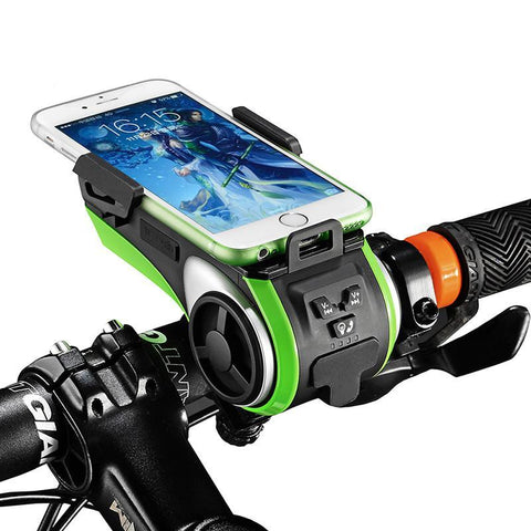 ROCKBROS Multi-Function Bicycle Phone Holder Bike Light Bluetooth Audio Powerbank Integrated USB Charger-Universal Store London™