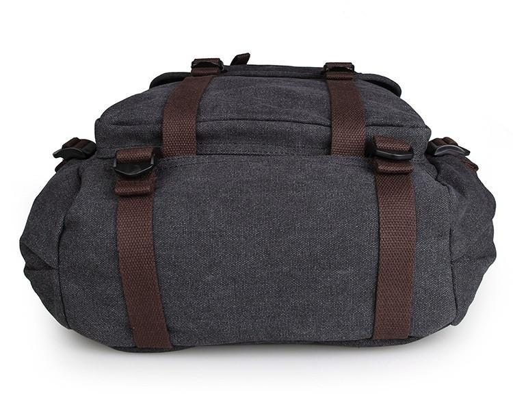 Rugged Cotton Lining Canvas Backpack - Black-Universal Store London™
