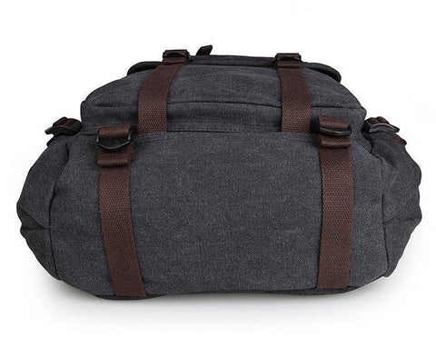 Image of Rugged Cotton Lining Canvas Backpack - Black-Universal Store London™