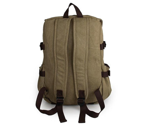 Image of Rugged Cotton Lining Canvas Backpack - Light Army Green-Universal Store London™