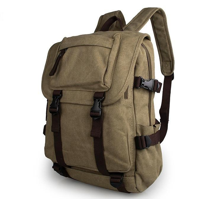 Rugged Cotton Lining Canvas Backpack - Light Army Green-Universal Store London™