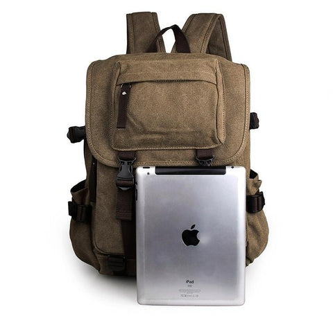 Image of Rugged Cotton Lining Canvas Backpack - Light Brown-Universal Store London™