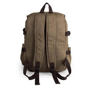 Rugged Cotton Lining Canvas Backpack - Light Brown-Universal Store London™