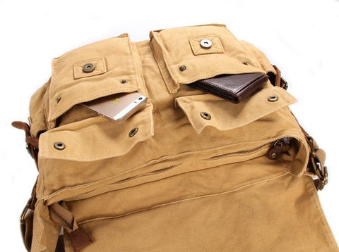 Image of 'Sahara' Classic Leather and Canvas Messenger Bag-Universal Store London™