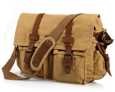 'Sahara' Classic Leather and Canvas Messenger Bag-Universal Store London™