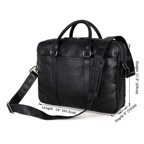 Image of Salisbury Leather Briefcase - Black-Universal Store London™