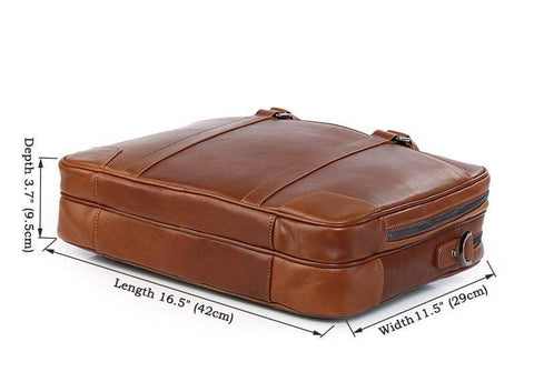 Image of Salisbury Leather Briefcase - Brown-Universal Store London™