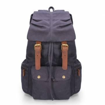 Image of Sandhill Unisex Canvas Backpack Genuine Leather Straps-Universal Store London™