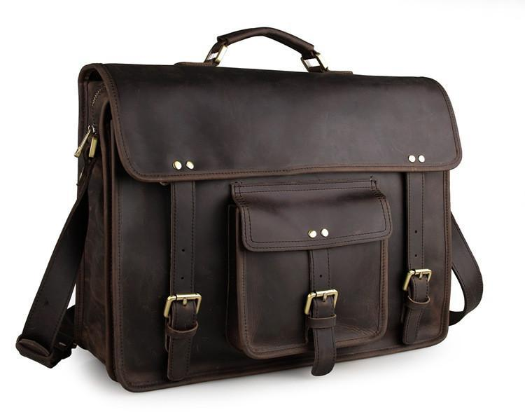 Selvaggio Vintage Full Grain Leather Briefcase-Universal Store London™