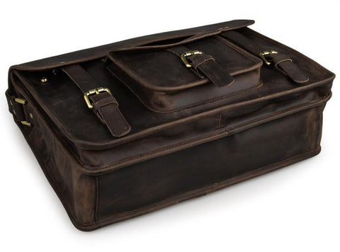 Image of Selvaggio Vintage Full Grain Leather Briefcase-Universal Store London™