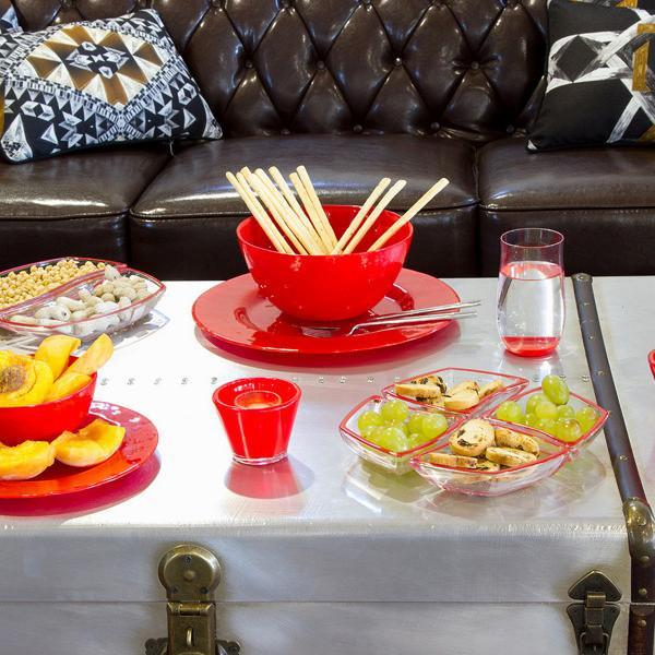 Set 4 red glass bowls - Crystal Colours Kitchen Collection by Bravissima Kitchen-Universal Store London™