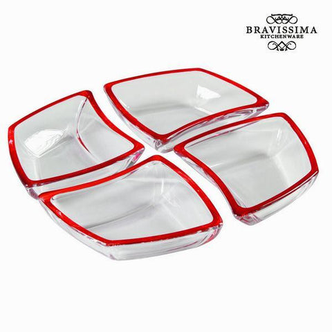 Image of Set 4 red glass bowls - Crystal Colours Kitchen Collection by Bravissima Kitchen-Universal Store London™