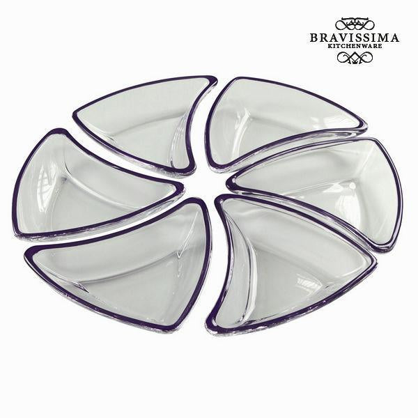 Set 6 bowls black glass - Crystal Colours Kitchen Collection by Bravissima Kitchen-Universal Store London™