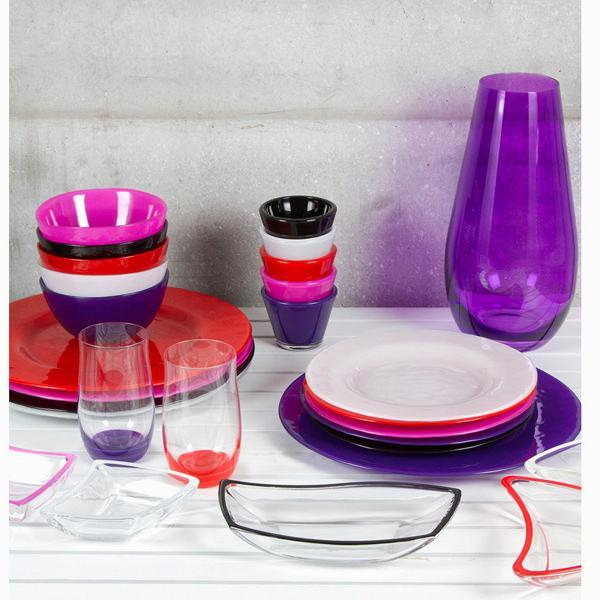 Set 6 bowls red glass - Crystal Colours Kitchen Collection by Bravissima Kitchen-Universal Store London™