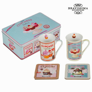 Set of 2 cups with coasters - Kitchen's Deco Collection by Bravissima Kitchen-Universal Store London™