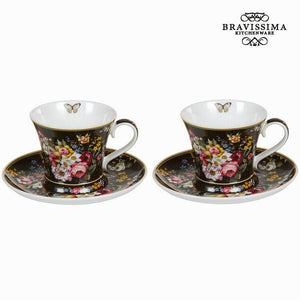 Set of 2 cups with dish bloom black - Kitchen's Deco Collection by Bravissima Kitchen-Universal Store London™