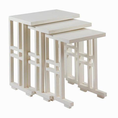 Set of 3 white nest tables - Serious Line Collection by Craften Wood-Universal Store London™
