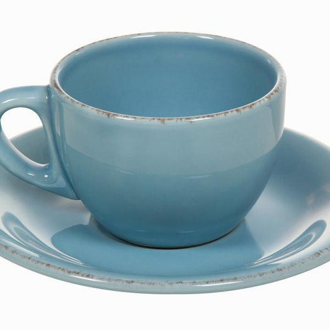 Image of Set of 6 blue cup and saucers - Kitchen's Deco Collection by Bravissima Kitchen-Universal Store London™