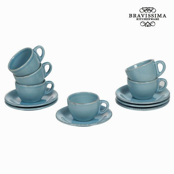 Set of 6 blue cup and saucers - Kitchen's Deco Collection by Bravissima Kitchen-Universal Store London™