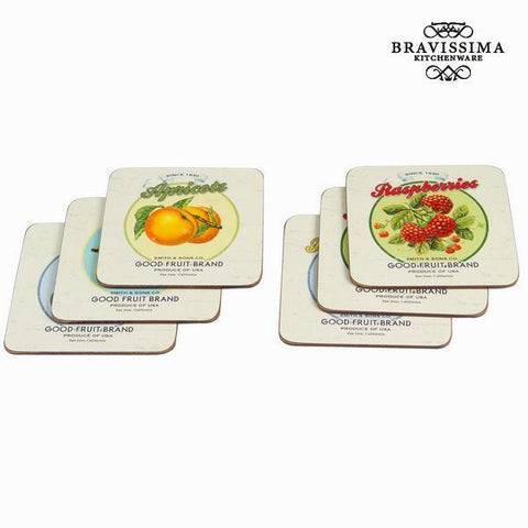 Image of Set of 6 cork coasters fruits - Kitchen's Deco Collection by Bravissima Kitchen-Universal Store London™