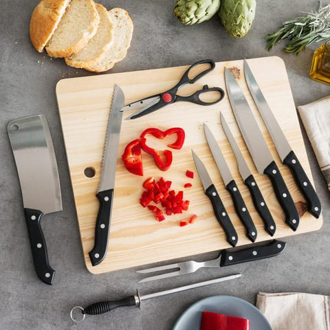 Set of Knives with Sharpener and Chopping Board (11 pieces)-Universal Store London™