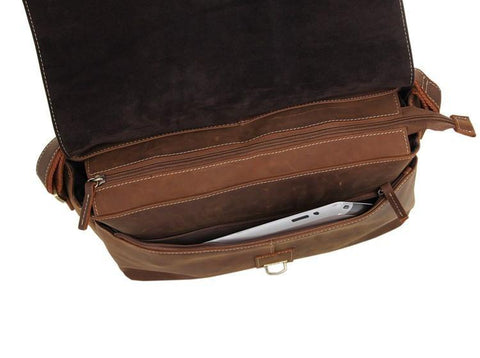 Image of Shadow Leather Messenger Bag - Brown-Universal Store London™