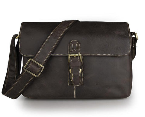 Image of Shadow Leather Messenger Bag - Dark Brown-Universal Store London™