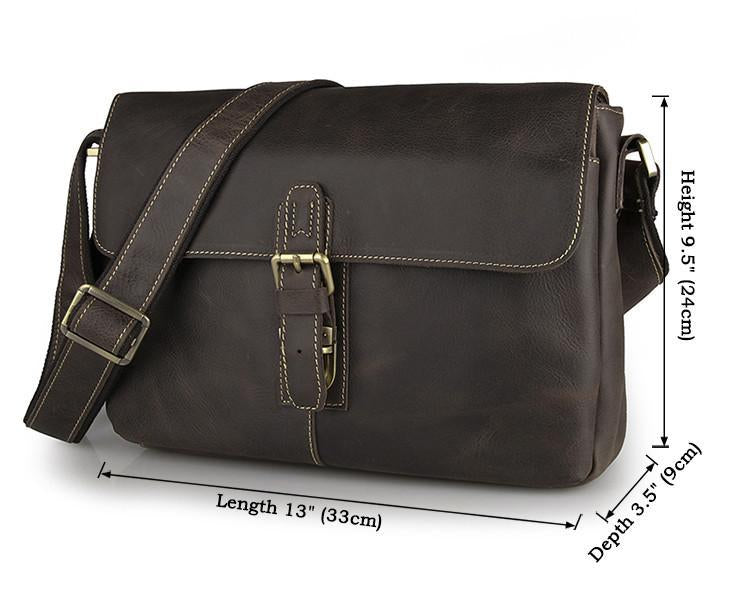 Shadow Leather Messenger Bag - Dark Brown-Universal Store London™