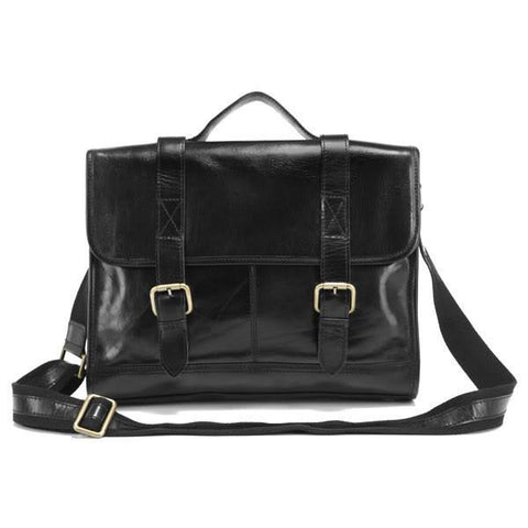 Image of Shiny Vintage Genuine Leather Briefcase-Universal Store London™