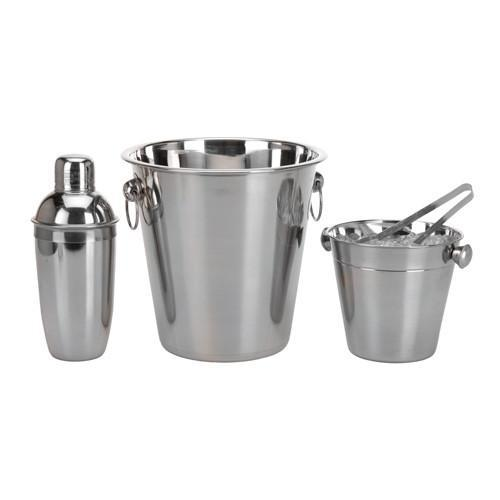Stainless Steel Ice Buckets and Cocktail Shaker Set (4 pieces)-Universal Store London™