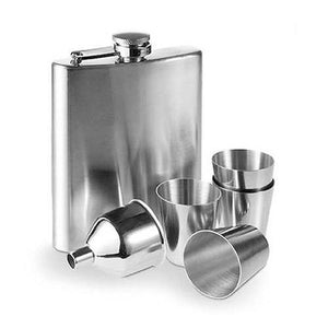 Steel Hip Flask Set with Accessories (7 pieces)-Universal Store London™