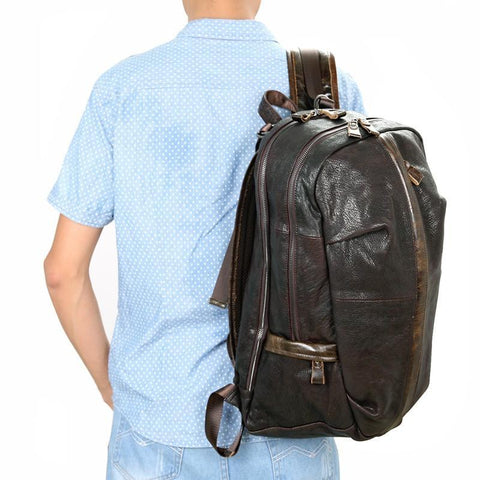 Image of Street Smart Leather Backpack - Dark Brown-Universal Store London™